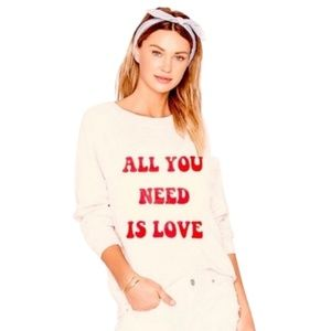 NWT Wildfox All You Need is Love Sommer Sweatshirt